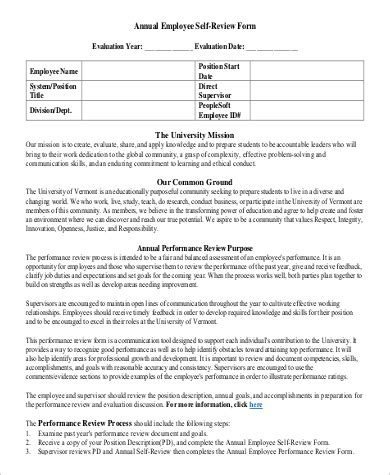 8 Sle Employee Self Evaluation Forms Sle Templates Annual Performance Evaluation Template