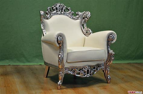 poltrone stile barocco poltrona barocco in pelle e cornice in foglia argento