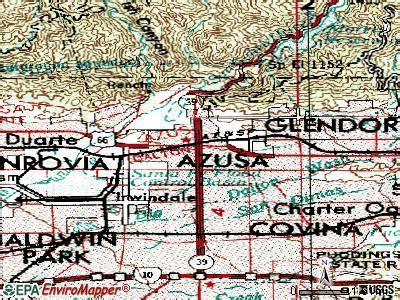 azusa zip code map azusa california map
