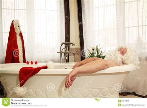 santa in the bathtub santa claus relax in bath stock image image of water