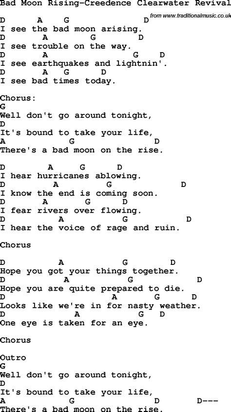 Bad Moon Rising Chords