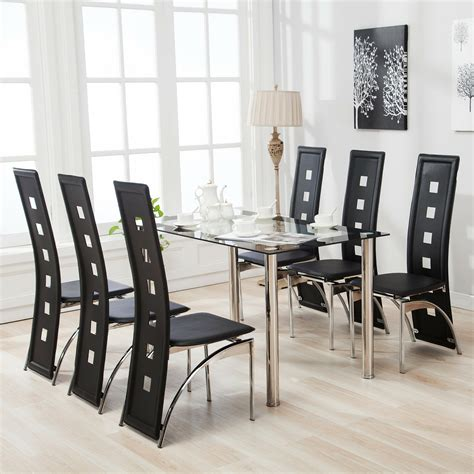 glass table and chairs 7 dining table set and 6 chairs glass metal kitchen