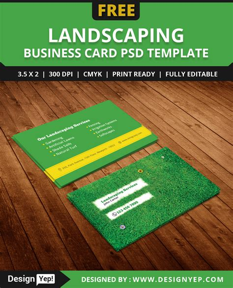 gardening business cards templates free landscaping business card template psd designyep