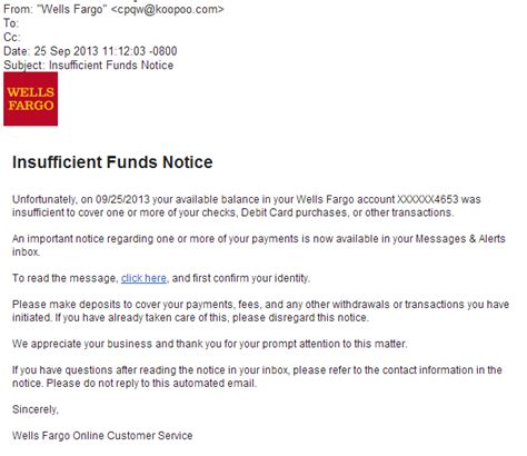 Insufficient Funds Letter Phishingpier Insufficient Funds Notice Site