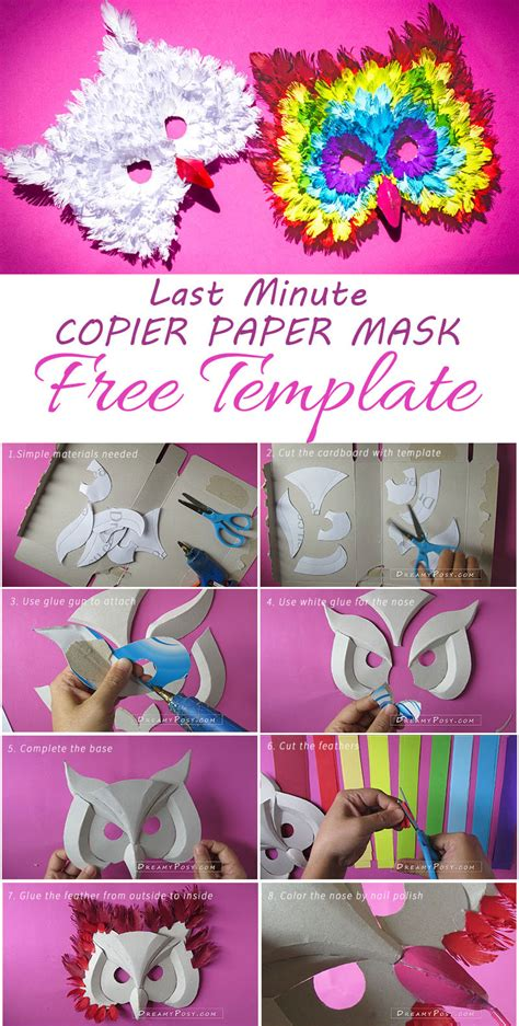 How To Make A Paper Mask Step By Step - how to make 3d owl paper mask from recycles free template