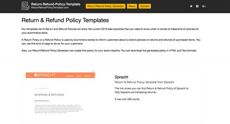 shipping and return policy template 2018 return refund policy templates