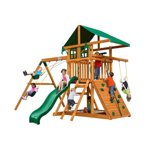 home depot wooden swing sets gorilla playsets outing deluxe cedar swing set 01 0060