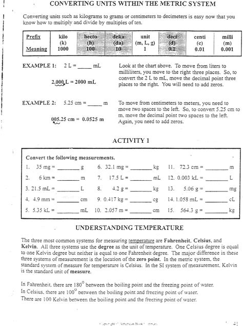 Chemistry Measurements And Calculations Worksheet by Math In Chemistry Metric System Worksheet Answers Math