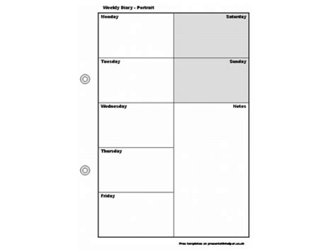 calendar diary template weekly diary template