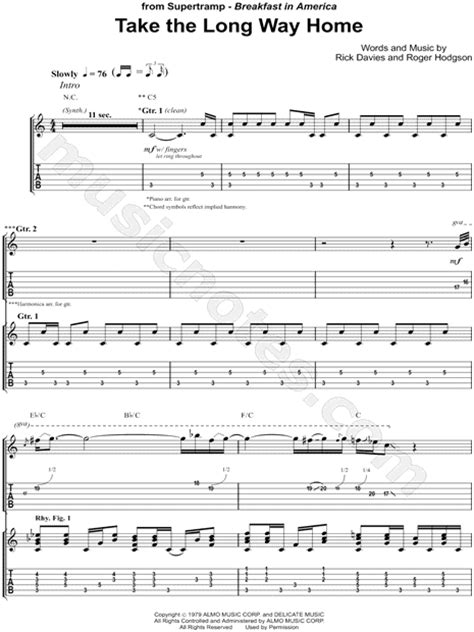 supertr quot take the way home quot guitar tab in c major