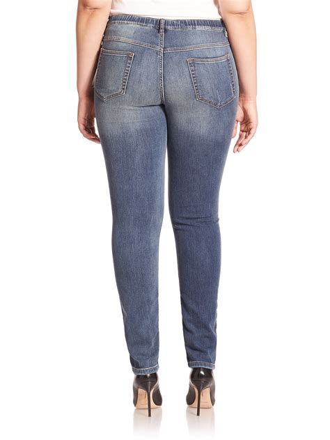 Pria Stretch Blue Navy Marina Rinaldi Stretch Jersey Denim In Blue