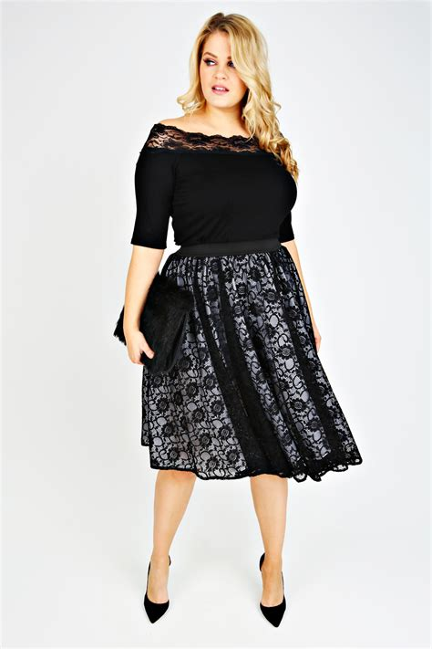 jo black lace layered midi skater skirt with