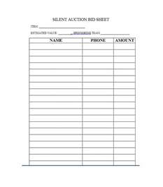 silent auction bid sheet template printable 40 silent auction bid sheet templates word excel