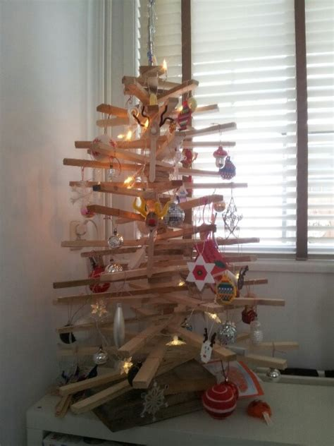 self made christmas tree made from wood