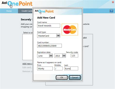 Sle Credit Card Number With Name Onepoint User Guide Credit Cards