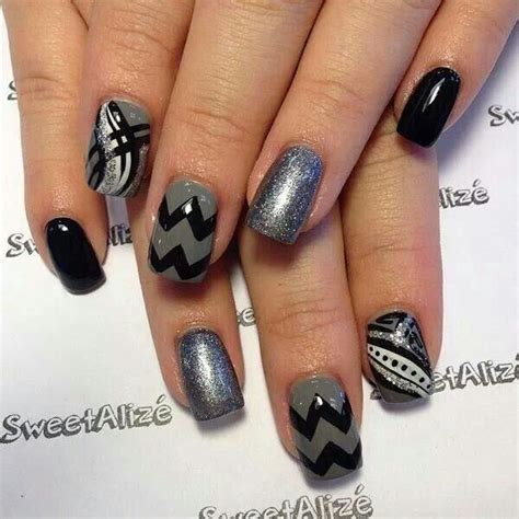 grey pattern nails black and gray nail art beauty pinterest nail art
