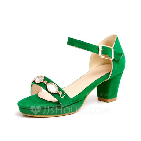 Chunky Heel Rhinestone Sandals suede chunky heel sandals with rhinestone shoes 087065007