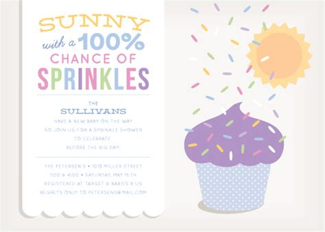 baby shower invitations 100 chance of sprinkles at minted