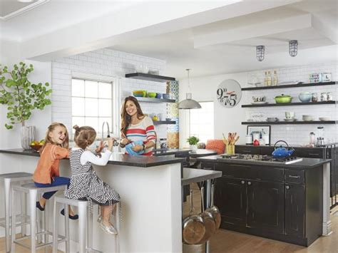 clever kitchen ideas open shelves hgtv family friendly kitchen with open shelving hgtv