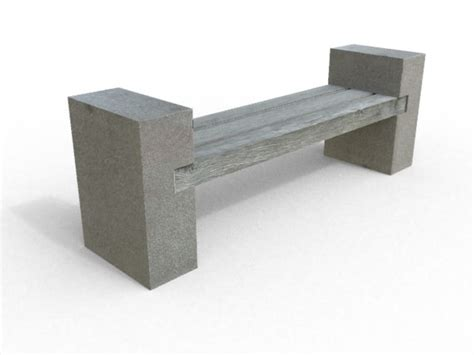 stone and wood bench designed bench 3d model