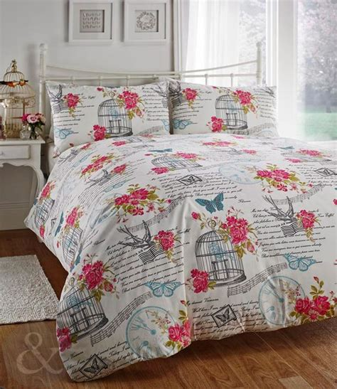 shabby chic bedding set birdcage butterfly cream teal