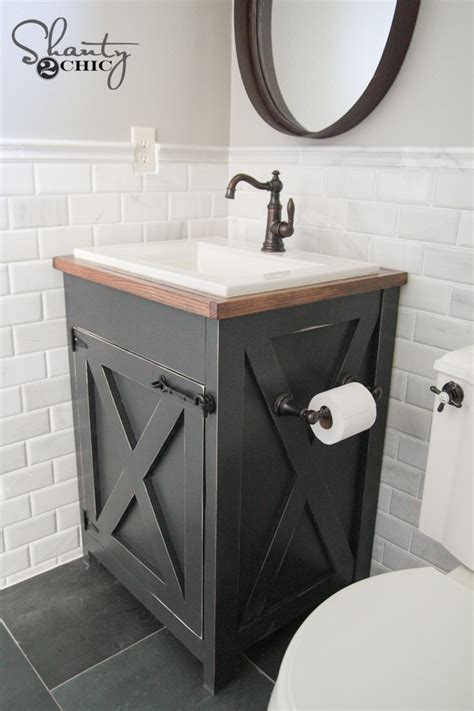 Bathroom Vanity Plans Diy with Diy Farmhouse Bathroom Vanity Shanty 2 Chic