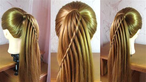 Waterfall braid ponytail tutorial   YouTube