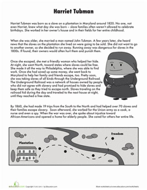 harriet tubman biography for third graders harriet tubman worksheet education com