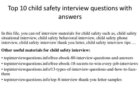 top 10 child safety questions with answers