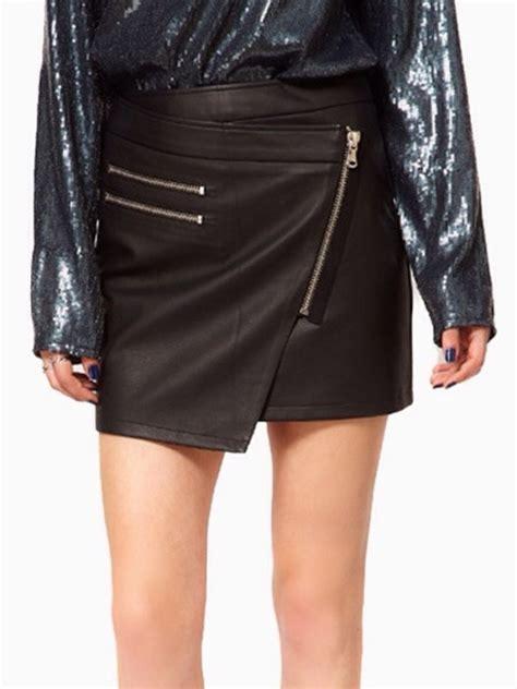 Convers Tosca High Zipper asymmetric leather look zip mini skirt sz 8 10