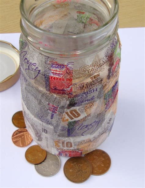 Decoupage Glass Jars - a craft a day the bronny way day 8 decoupage money jar