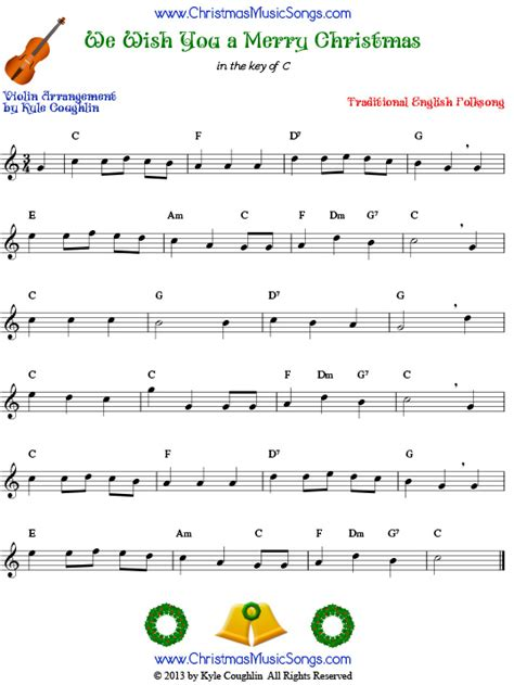 we wish you a merry christmas for violin free sheet music