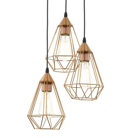 eglo pendant light eglo 94196 tarbes copper coloured drop cluster