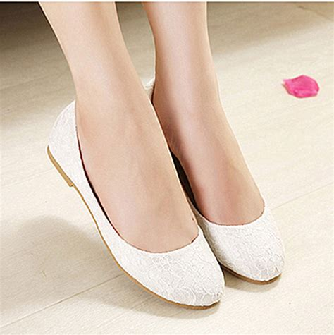 Ivory Lace Flat Wedding Shoes by Lace White Ivory Pink Wedding Shoes Bridal Flat Ballet