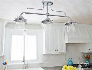 Kitchen Light Fixture by Remodelaholic White Kitchen Overhaul With Diy Marble Island