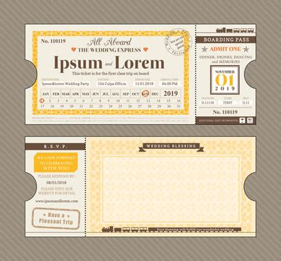 trem card template wedding invitation template coreldraw free vector