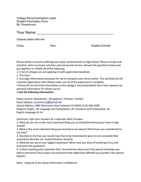 Draft Reference Letter For College recommendation letter sle for high school student