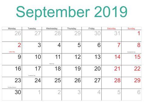 september  holidays calendar