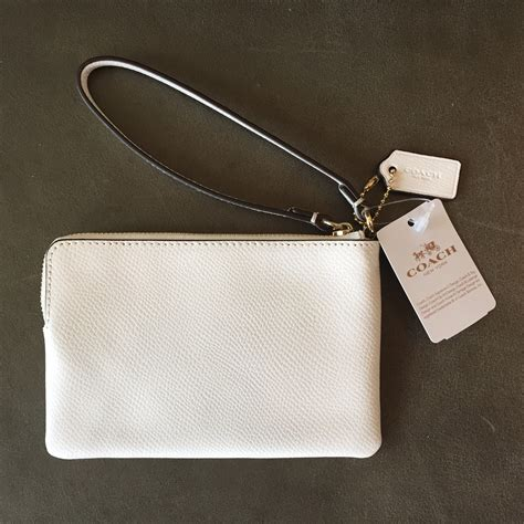 Coach Crossgrain Corner Zip Small Wristlet Purple Origi Berkualitas coach chalk white crossgrain leather corner zip wristlet