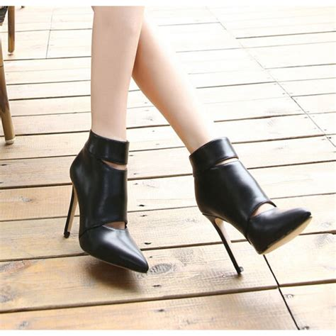 black cut out high heel ankle boots