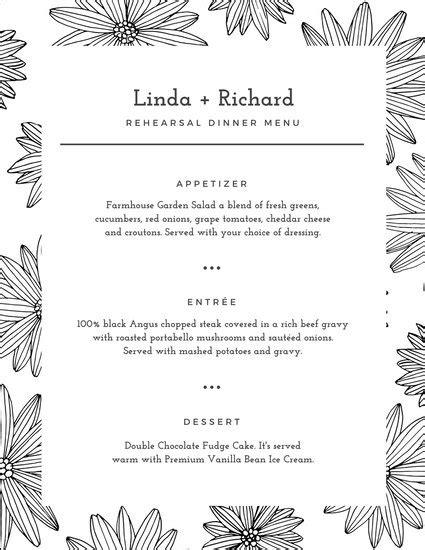 White Floral Pattern Rehearsal Dinner Menu Templates By Canva Rehearsal Dinner Menu Template