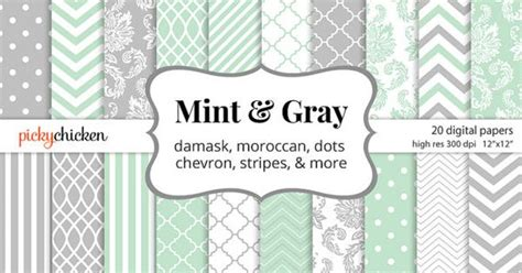 mint grey chevron pattern moroccan quatrefoil notebook mint gray digital paper patterns include damask