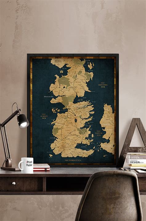of thrones map westeros vintage map style by iprintposter