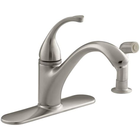 write a review about kohler forte vibrant brushed nickel 1 kohler forte single handle standard kitchen faucet with