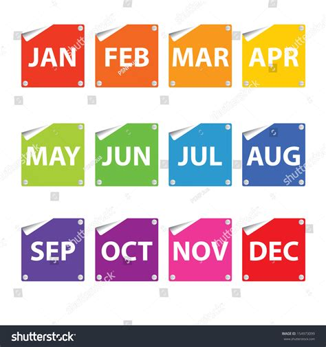 Calendar This Month Colorful Month Stickers Stock Photo 154973099