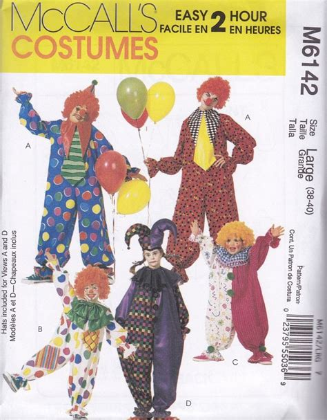 patterns sewing costumes mccall s sewing pattern adults kids clown costumes sizes