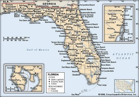 map of florida with cities florida cities encyclopedia children s homework help dictionary