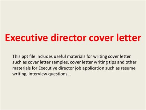 Introduction Letter Executive Director Executive Director Cover Letter