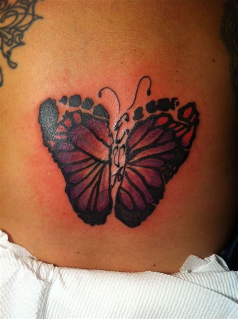 baby footprint butterfly tattoo butterfly footprint if i a i am so
