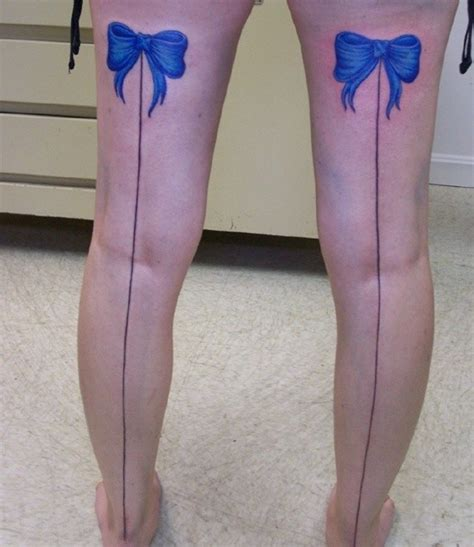 back legs blue bow tattoos tattooshunt com
